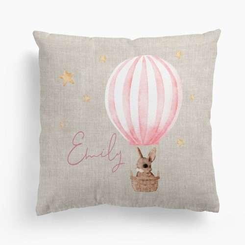 Personalised New Baby Girl Cushion