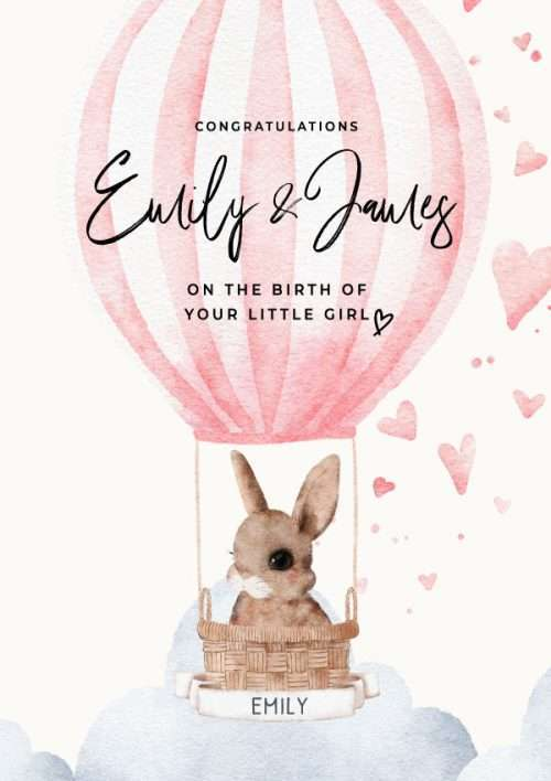 Personalised New Baby Girl Congratulations Bunny in Hot Air Ballon Card