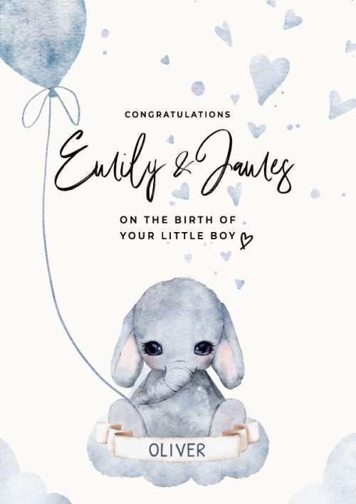 Personalised New Baby Boy Congratulations Elephant on Cloud Card
