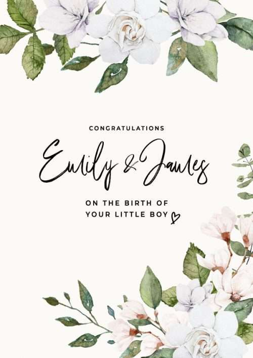 Personalised New Baby Boy Congratulations Card
