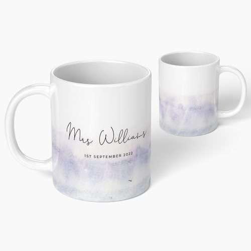 Personalised Wedding Purple Watercolour Mug