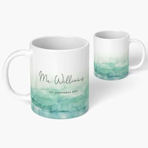 Personalised Wedding Green Watercolour Mug