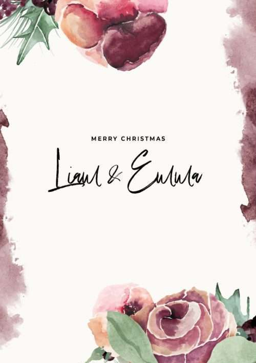 Christmas Card with Watercolour Floral Pattern Merry Christmas