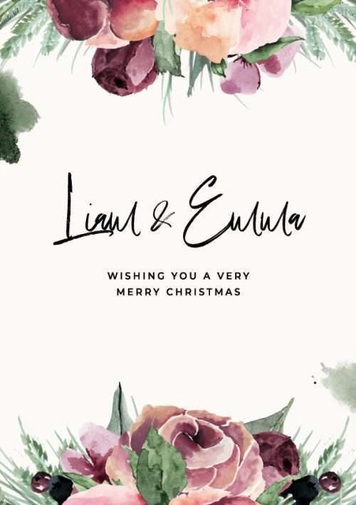 Christmas Card with Watercolour Floral Pattern Wishing you a very Merry Christmas