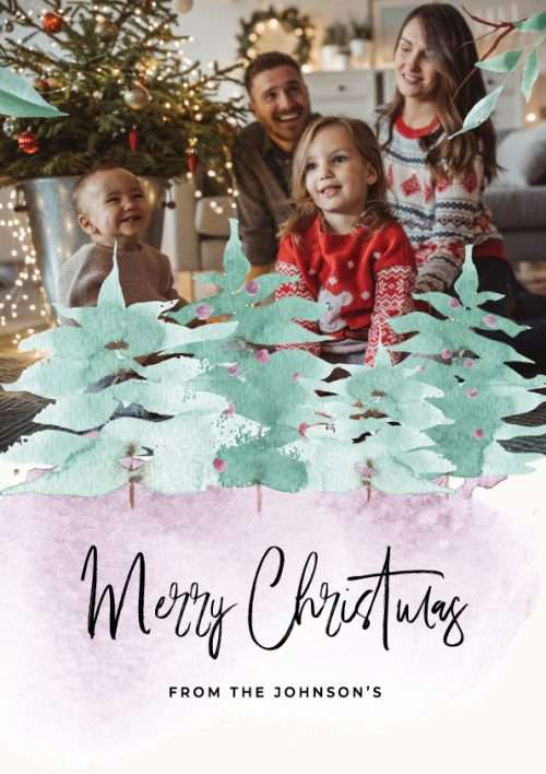 Christmas Card with Watercolour Pattern & Tree's Photo Upload
