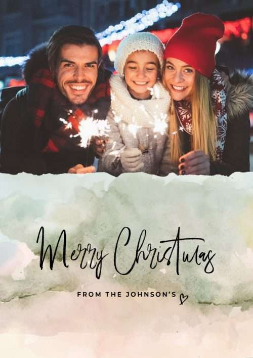 Christmas Card with Watercolour Pattern Photo Upload